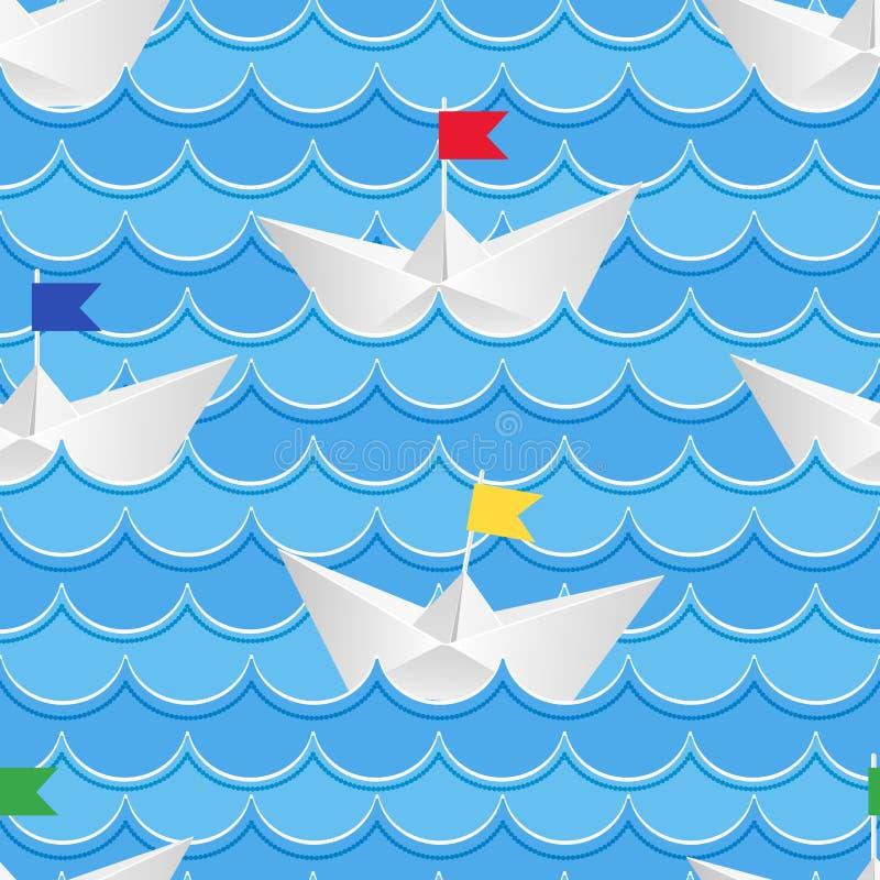 Papierboote, die auf Wasser des blauen Papiers segeln lizenzfreie abbildung
