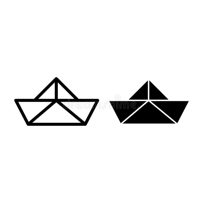 Papierbootslinie und Glyphikone Origamivektorillustration lokalisiert auf Weiß Papierschiffsentwurfs-Artdesign, entworfen vektor abbildung