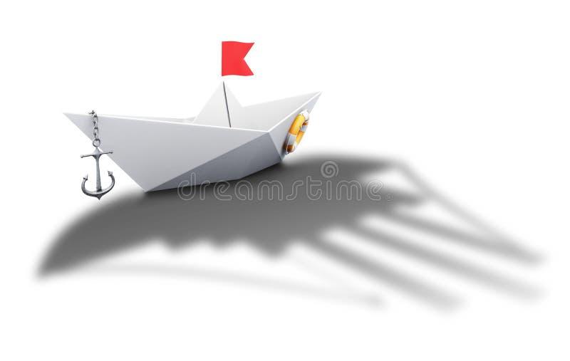 Papierbootsorigami mit dem Schatten eines großen Schiffs - begrifflich lizenzfreie abbildung