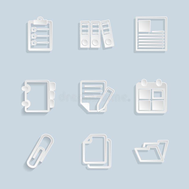Papierdokumenten-Büro-Ikonen stock abbildung