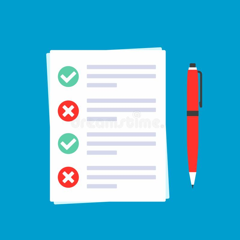 Papiere mit Antragsformular auf ihm, Papierblätter, Häkchen ticken O.K. und kreuzen X im Kreis auf der Liste, den roten Stift, de vektor abbildung