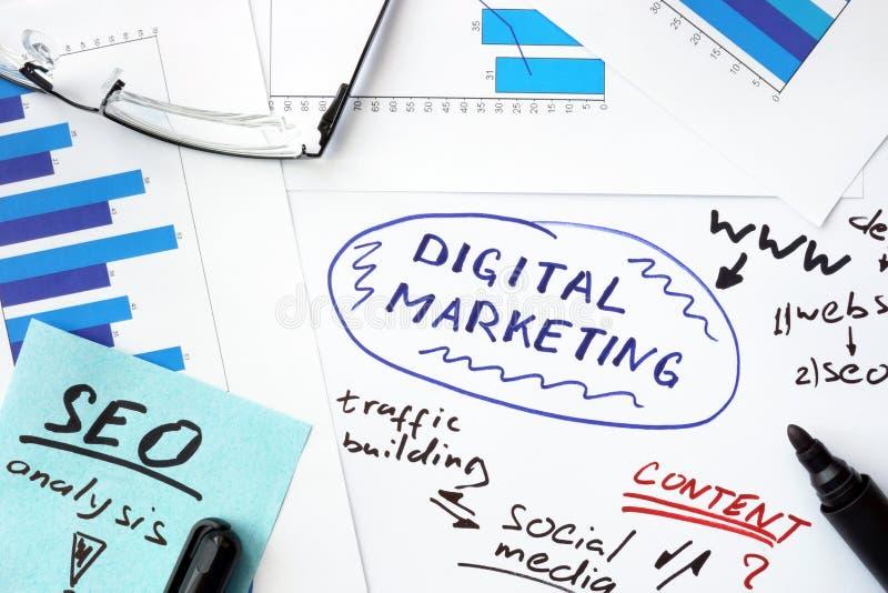 Papiere mit Diagrammen und digitalem Marketing lizenzfreie stockfotografie