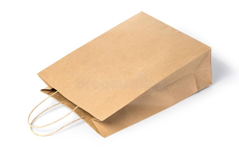 Papiereinkaufstasche lokalisiert lizenzfreies stockbild