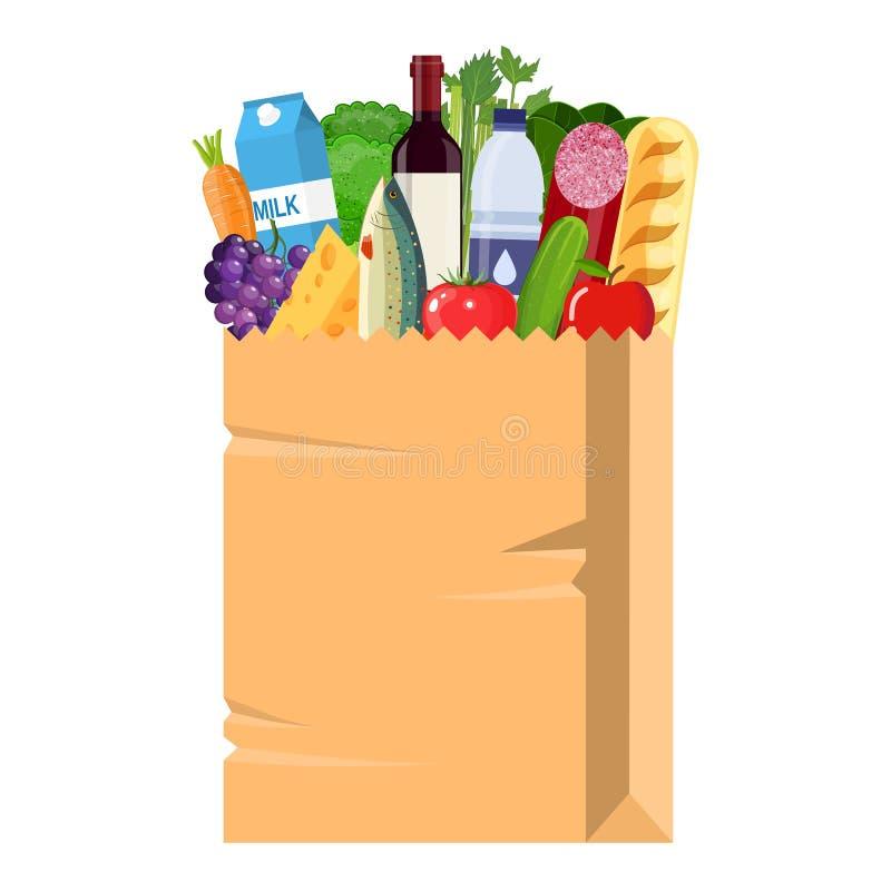 Papiereinkaufstasche voll Lebensmittelgeschäftprodukte stock abbildung
