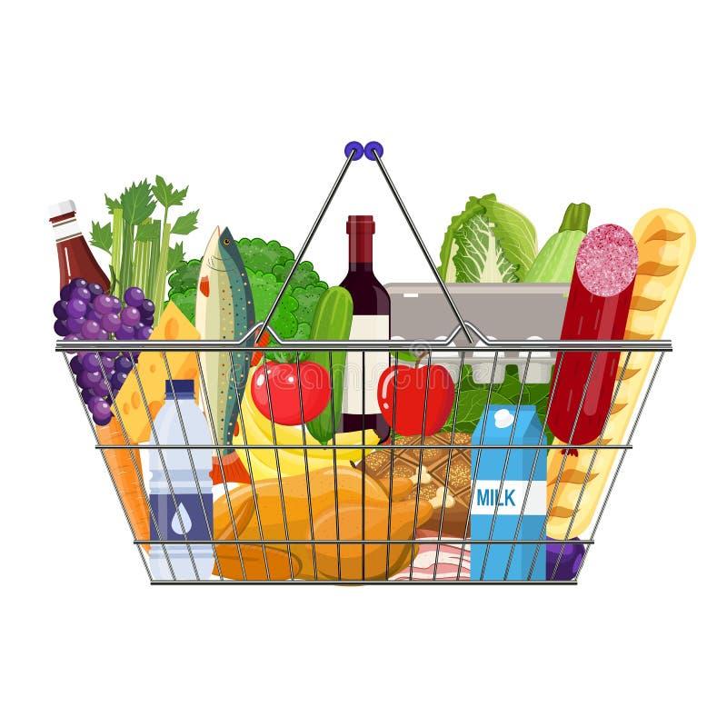 Papiereinkaufstasche voll Lebensmittelgeschäftprodukte vektor abbildung