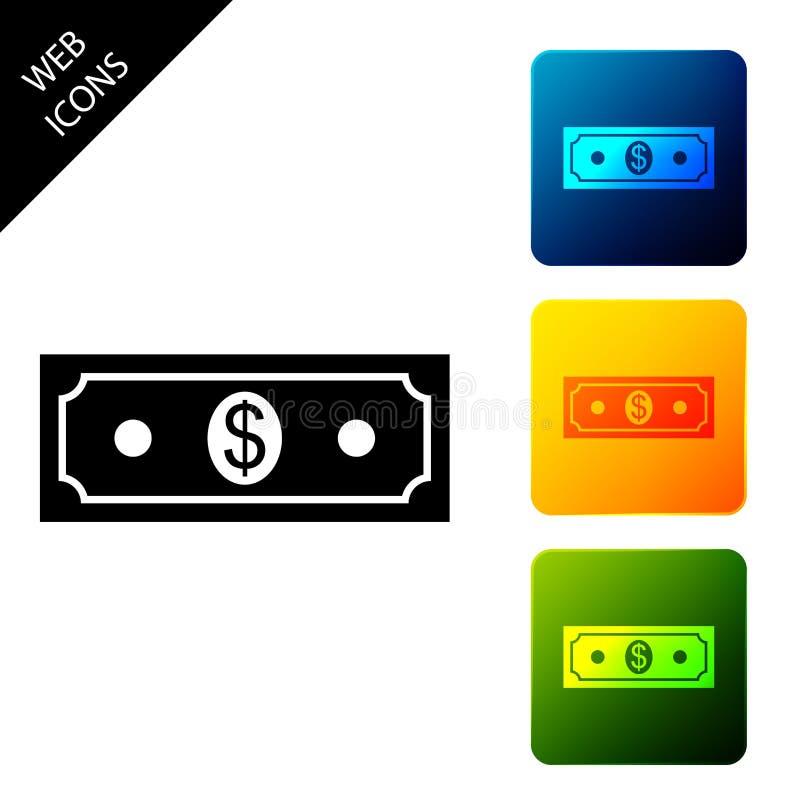 Papieren geld, Amerikaans dollars geld, op zichzelf staand pictogram Bankbiljet voor dollar Kleurrijke vierkant knoppen instellen stock illustratie
