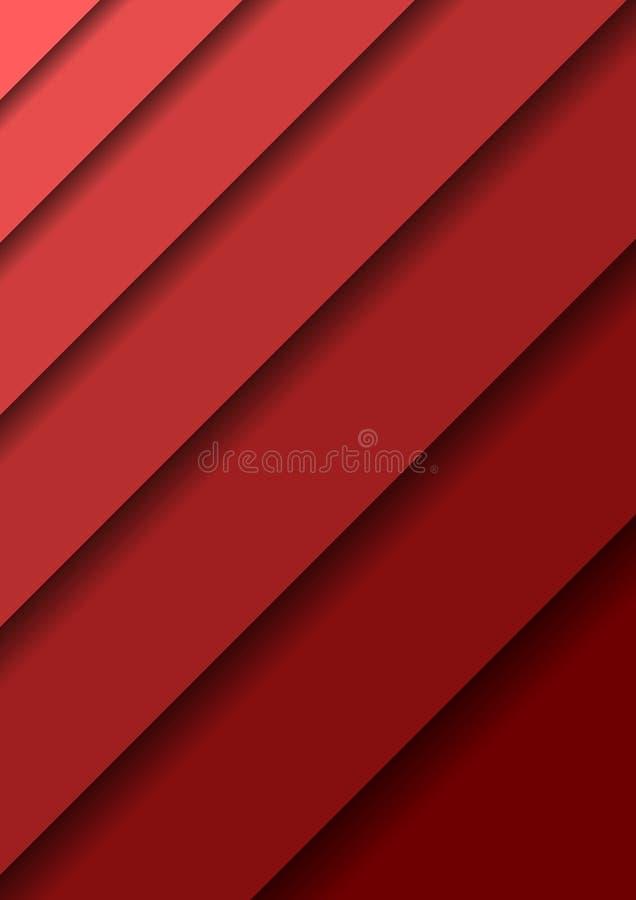 Papieren knipbanners met een abstracte 3D-achtergrond met rode lagen, waarvan er een diagonaal over de andere laag en schaduwen P vector illustratie
