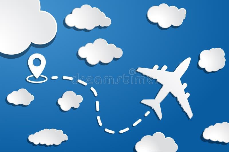 papieren vliegtuig met startpunt, dah line trace en witte wolken op blauwe luchtachtergrond Duidelijke achtergrond van luchtreize vector illustratie