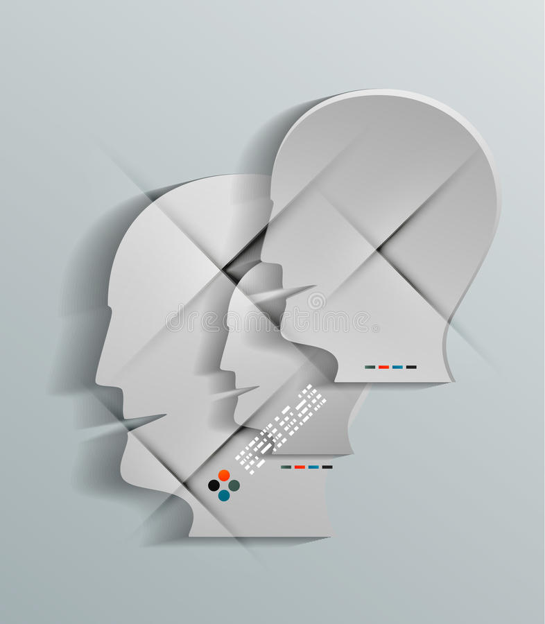 Papierentwurf des Vektors 3d des menschlichen Kopfes lizenzfreie abbildung