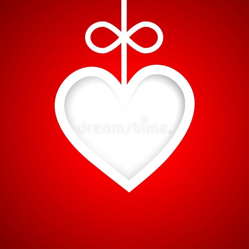 Papierfahne bis zum Valentinsgrußtag lizenzfreie abbildung