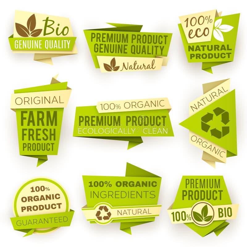 Papierfahnen des grünen Origamis der Ökologie Bioproduktverkaufstag- und -ausweisvektorsatz Eco natürlicher lizenzfreie abbildung