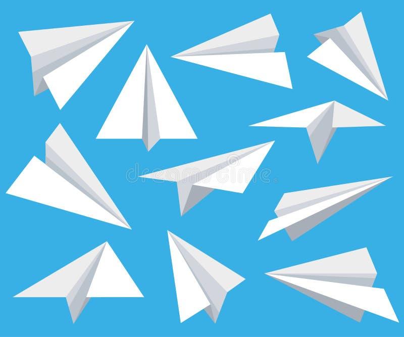 Papierflächensatz in der flachen Art lokalisiert vom Hintergrund Flache Sammlung des Origamis Büttenpapierflächen- und -kinderpap vektor abbildung