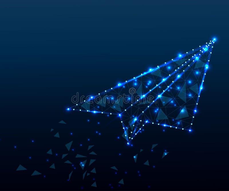 Papierflugzeug, Polygon, blauer Stern der blauen Sterne 4 stock abbildung