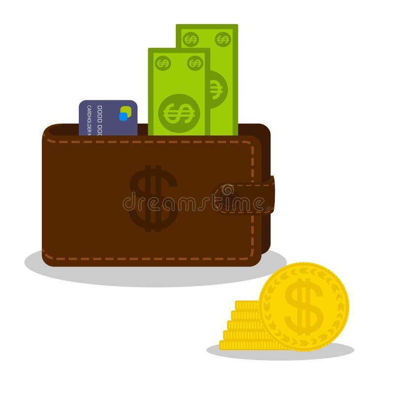 Papiergeld en betaalpas in bruine beurs en gouden muntstukkenhoop Muntvoorwerpen op een witte achtergrond worden geïsoleerd die vector illustratie