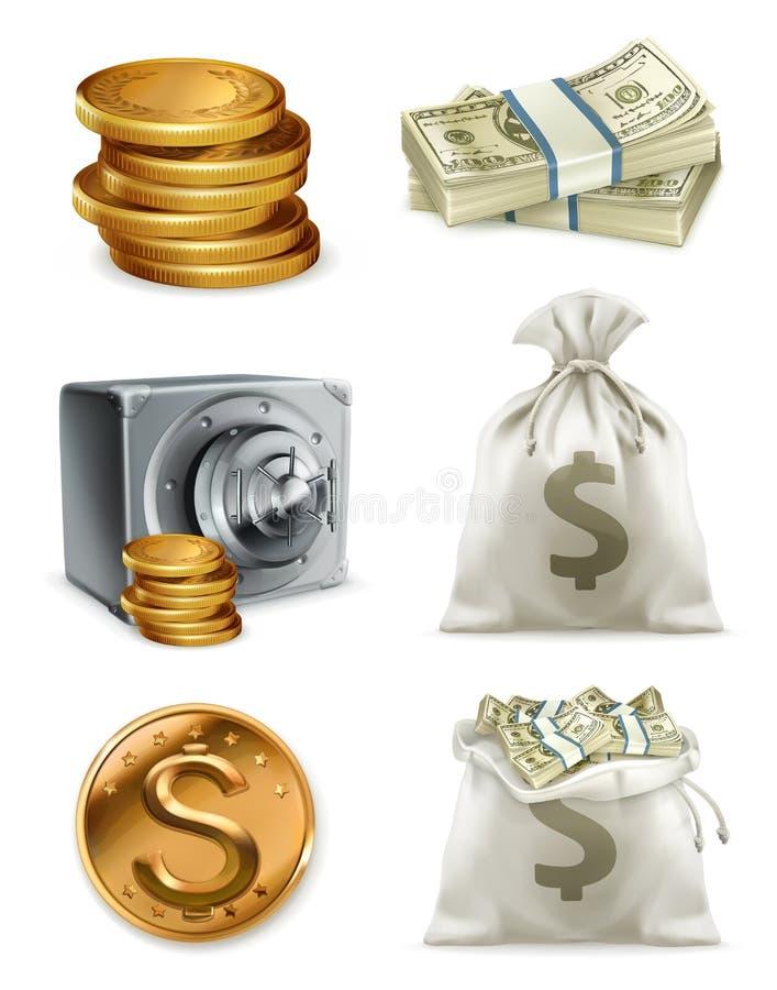 Papiergeld en gouden muntstuk, moneybag Drie kleurenpictogrammen op kartonmarkeringen stock illustratie