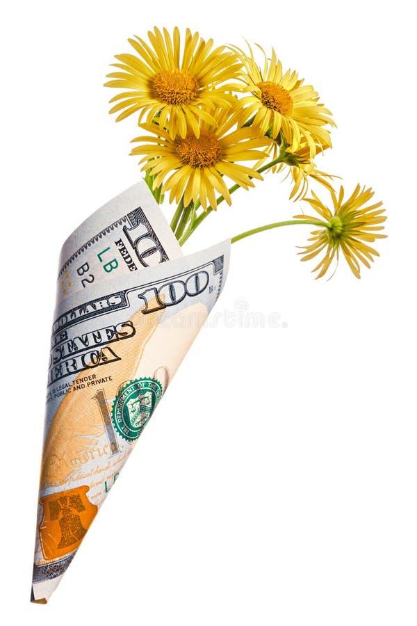Papiergeldzak van de honderd dollars met gele kamille royalty-vrije stock afbeeldingen