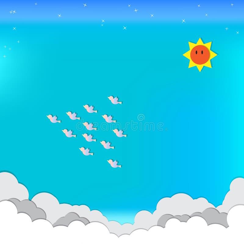 Papierhandwerk Sonnenwolkenvögel blauen Himmels spielen die Hauptrolle stockbilder