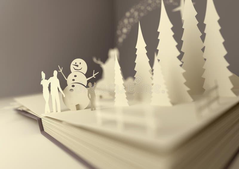 Papierhandwerks-Weihnachtsgeschichte lizenzfreie abbildung