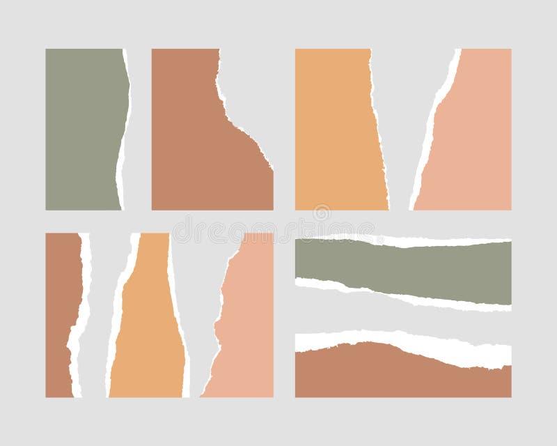 Papierheftige Ränder der stücke witn vektor abbildung