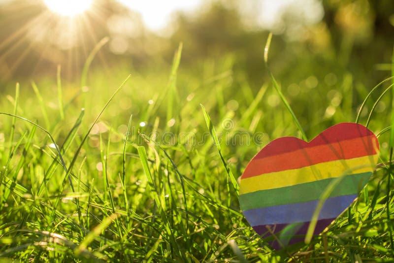 Papierherz gemalt in der Regenbogenfarbe LGBT stockbild