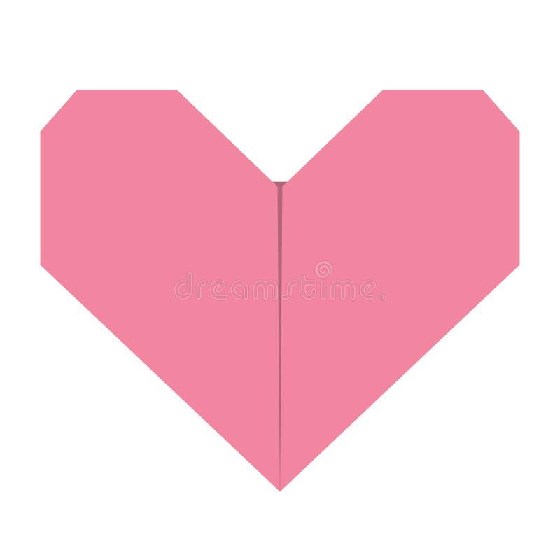 Papierherzikone des rosa Origamis Handgemachte Handwerksfalte Glückliches Valentinsgrußtageszeichensymbol Nette grafische Form Fl lizenzfreie abbildung