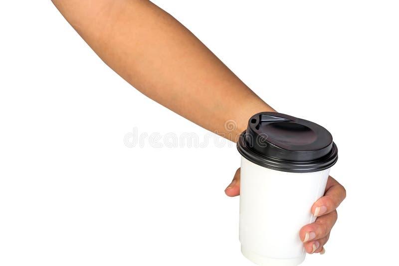Papierkaffeebehälter mit schwarzem Deckel lizenzfreies stockbild