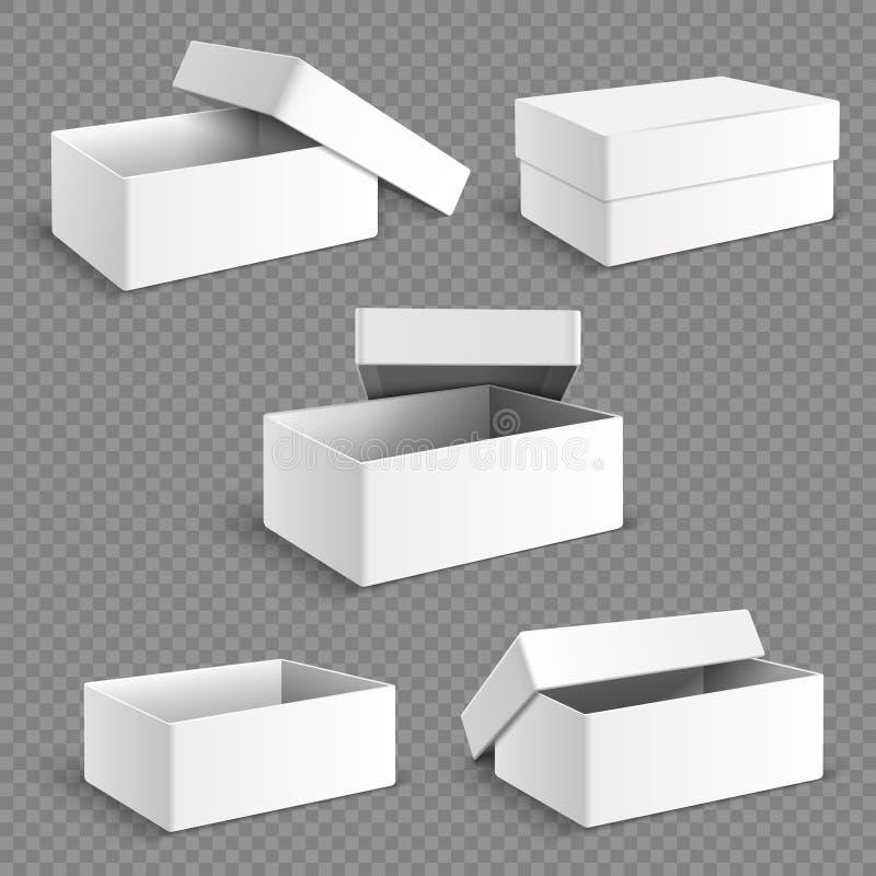 Papierkasten der leeren weißen Verpackung mit transparentem weichem Schattenvektorsatz lizenzfreie abbildung