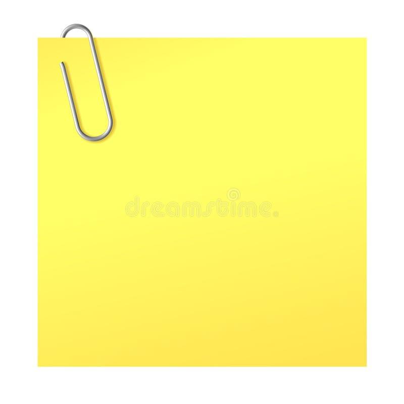 Papierklammer und gelber Aufkleber stock abbildung