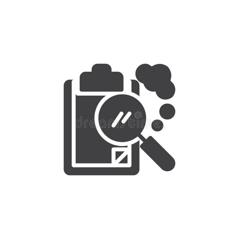 Papierklemmbrett- und Lupenvektorikone lizenzfreie abbildung