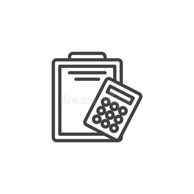 Papierklemmbrett- und Taschenrechnerlinie Ikone vektor abbildung