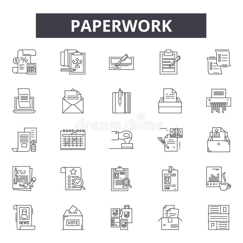 Papierkowych robót kreskowe ikony, znaki, wektoru set, liniowy pojęcie, kontur ilustracja ilustracji