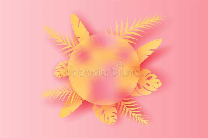Papierkunst Blatt-Palmendekoration Illustration Sommers der tropischen auf gesetztem Texthintergrund, geschnittener PapierOrigami stock abbildung