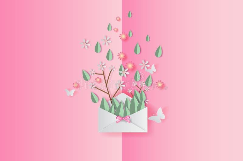 Papierkunst 3D der Illustrationsfederblatt- und -blumendekoration auf gesetztem Texthintergrund, Papierschnitt und Handwerksfrühj stock abbildung