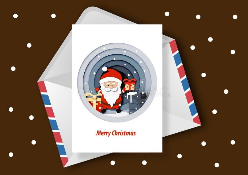 Papierkunst der Weihnachtskarte, der Santa Clauss und der Geschenkbox auf dem Dach, Kamin im Nachtzeithintergrundvektor lizenzfreie abbildung