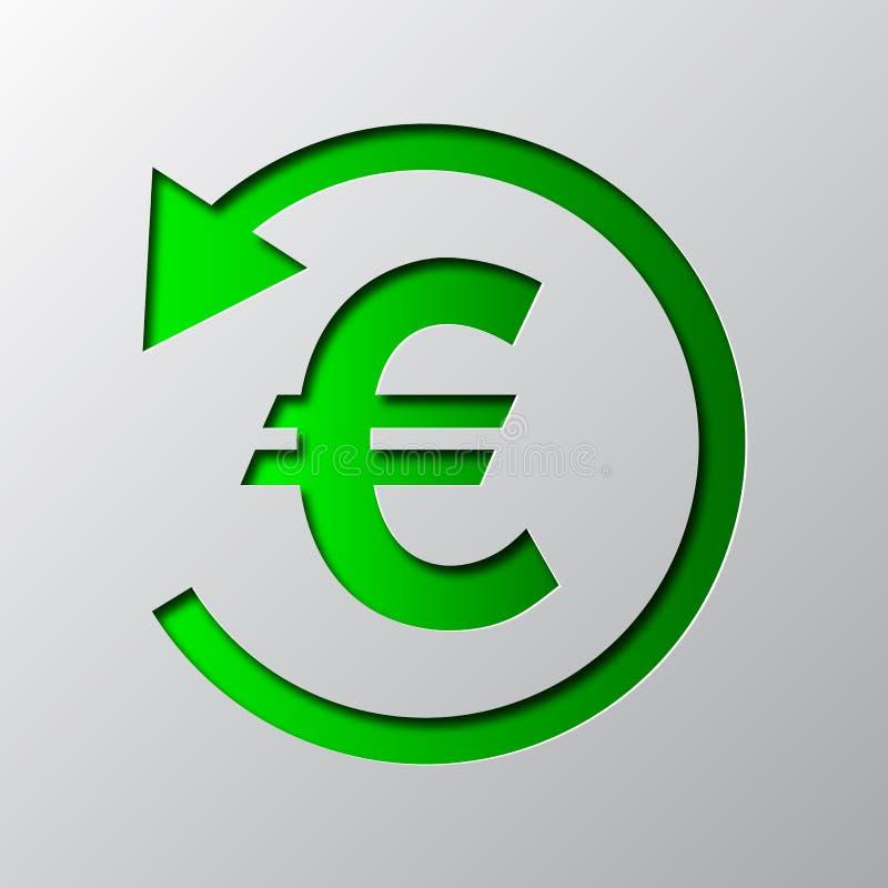 Papierkunst des grünen Bargeldrückseitensymbols Auch im corel abgehobenen Betrag lizenzfreie abbildung
