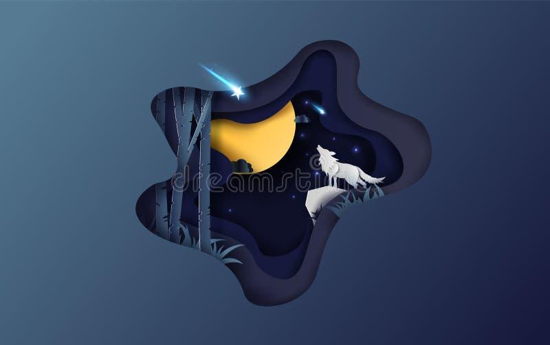 Papierkunst des kreativen Entwurfs des Vollmondherbstes mit dem Wolf, der an nachts Ihren Textraumhintergrund, Wintersaison für S vektor abbildung