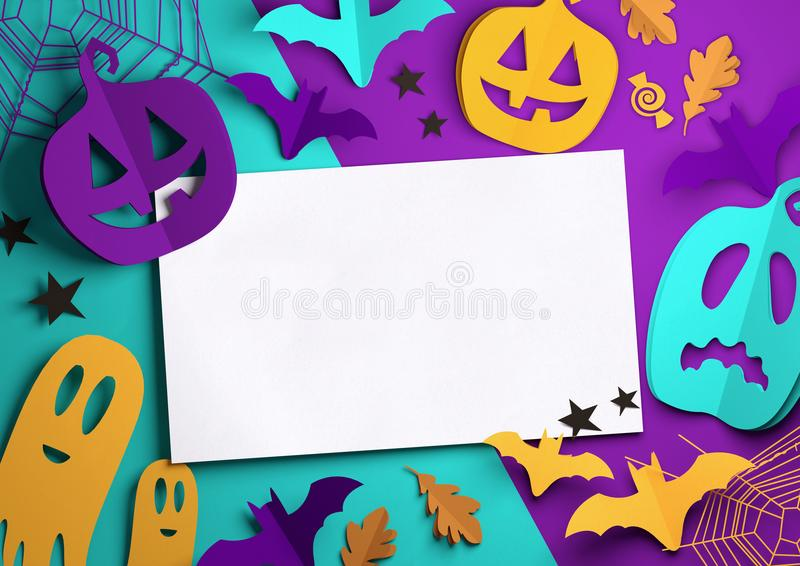 Papierkunst - gespenstischer Halloween-Hintergrund lizenzfreie abbildung