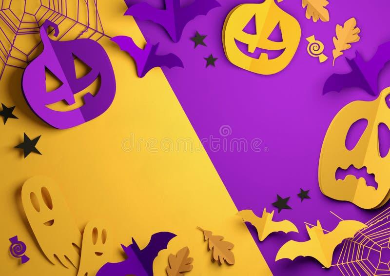 Papierkunst - glücklicher Halloween-Hintergrund vektor abbildung