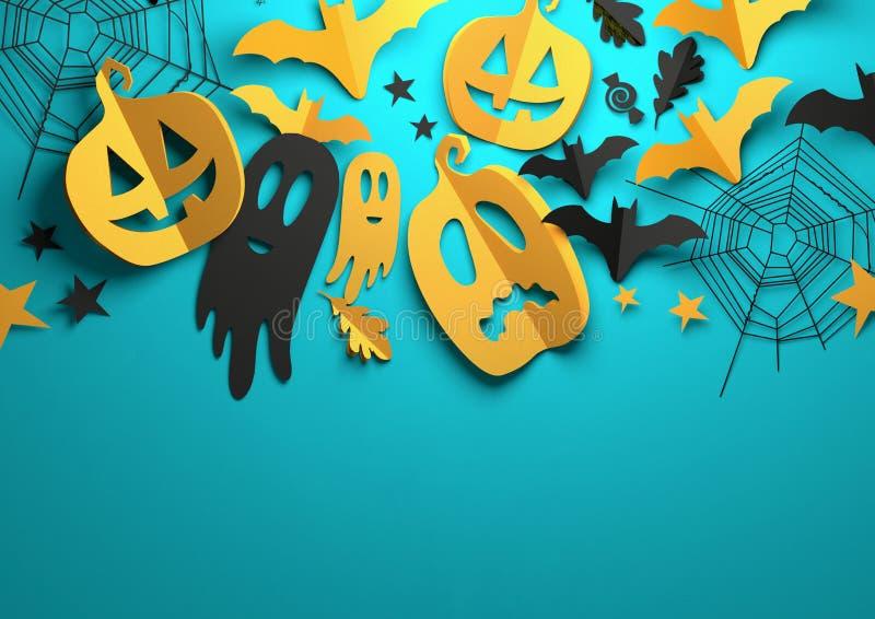 Papierkunst - Halloween-Dekorations-Hintergrund stock abbildung