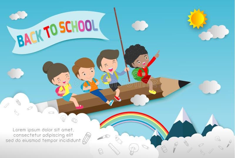 Papierkunst zurück zu der Schule, Kinderfliegen auf Bleistift, Ausbildungskonzept, Papierschnittart-Vektorillustration lokalisier lizenzfreie abbildung