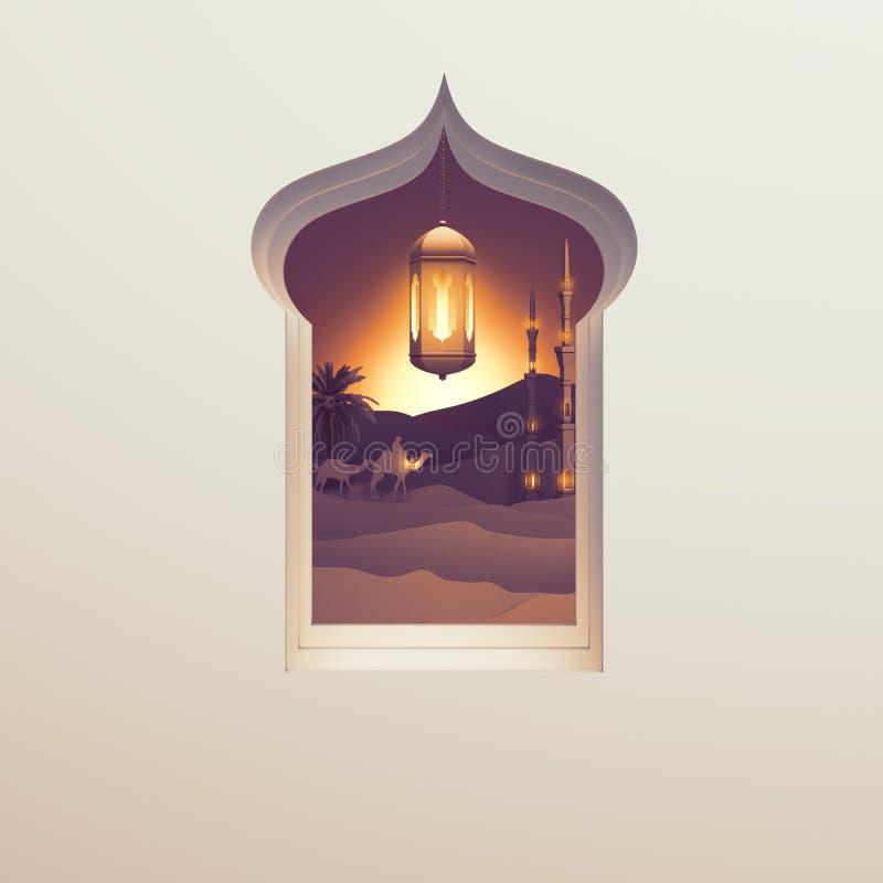 Papierkunstansicht vom arabischen Fenster der Sonnenuntergangwüste mit der Moschee, dem Kamel, der Lampenlaterne und der Datumspa stock abbildung