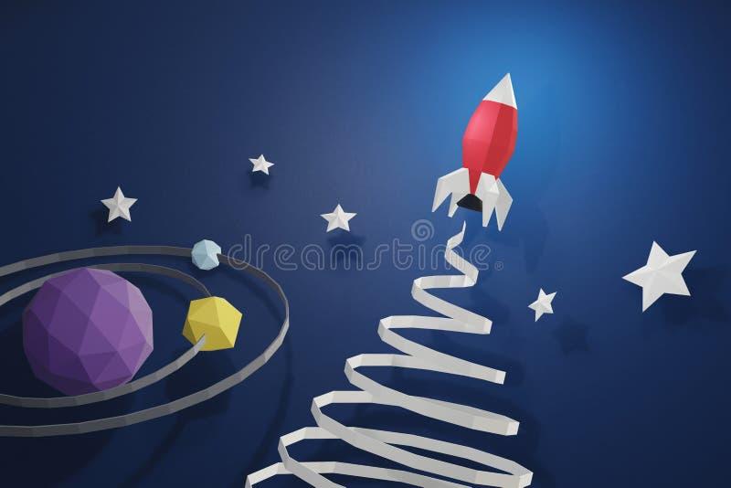 Papierkunstart des Raketenstarts im Weltraum auf einem blauen Hintergrund mit Planeten vektor abbildung