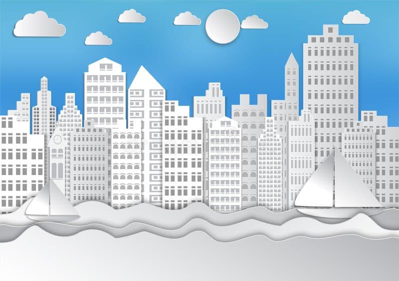 Papierkunstart Meer und weiße Stadt der Wellen mit Himmel und Wolken Frische Milch mit Blättern und Blumen vektor abbildung