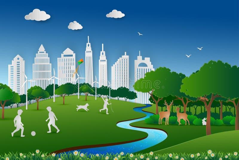 Papierkunstdesign der Naturlandschaft, speichern das Umwelt- und Energiekonzept, die glücklichen childs und entspannen sich im St lizenzfreie abbildung