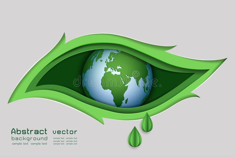 Papierkunstdesign des grünen Naturkonzeptes, das Auge im Blattform-Zusammenfassungshintergrund lizenzfreie abbildung