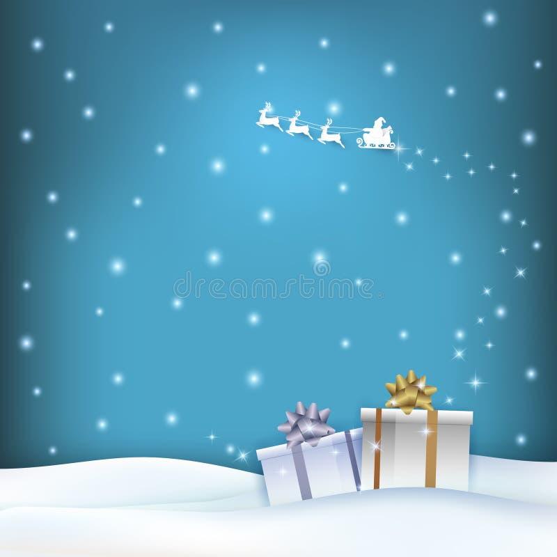 Papierkunstillustration von Sankt und von Geschenkboxen mit glühendem Stern stock abbildung