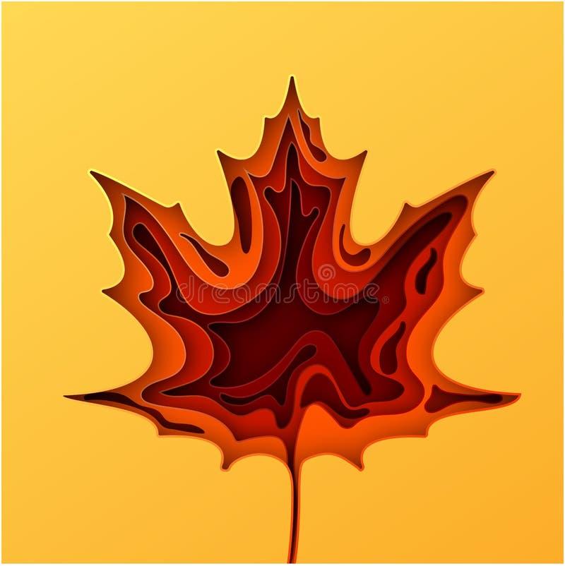 Papierkunstkarikatur-Zusammenfassungswellen Herbstpapier schnitzen Hintergrund Das Ahornblatt, das vom Papier herausgeschnitten w lizenzfreie abbildung