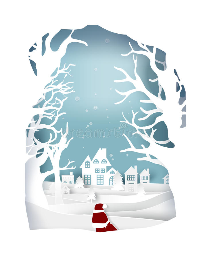 Papierkunstlandschaft von Weihnachten und guten Rutsch ins Neue Jahr mit Baum und Haus entwerfen stock abbildung