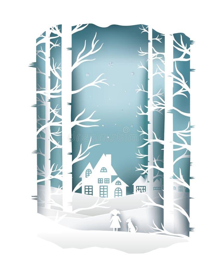 Papierkunstlandschaft von Weihnachten und guten Rutsch ins Neue Jahr mit Baum und Haus entwerfen Vektor stock abbildung