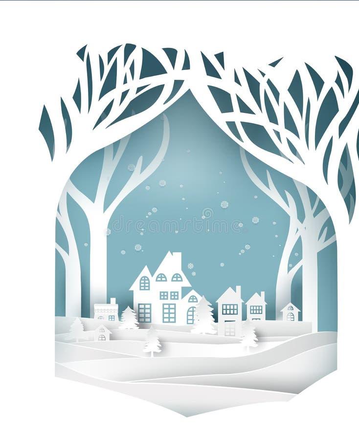 Papierkunstlandschaft von Weihnachten und guten Rutsch ins Neue Jahr mit Baum und Haus entwerfen Vektor lizenzfreie abbildung